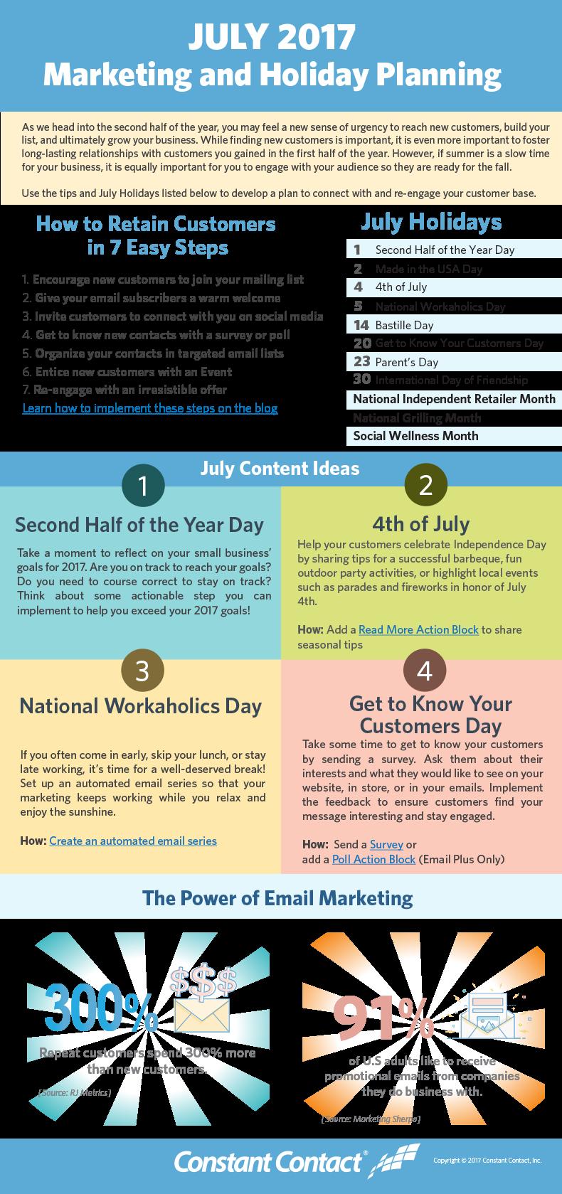 July 2019 Marketing and Holiday Planning Marketing