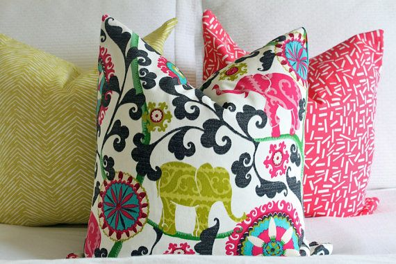 Bright colorful elephant print fabric throw pillow cover - Fabric for throw pillows ...