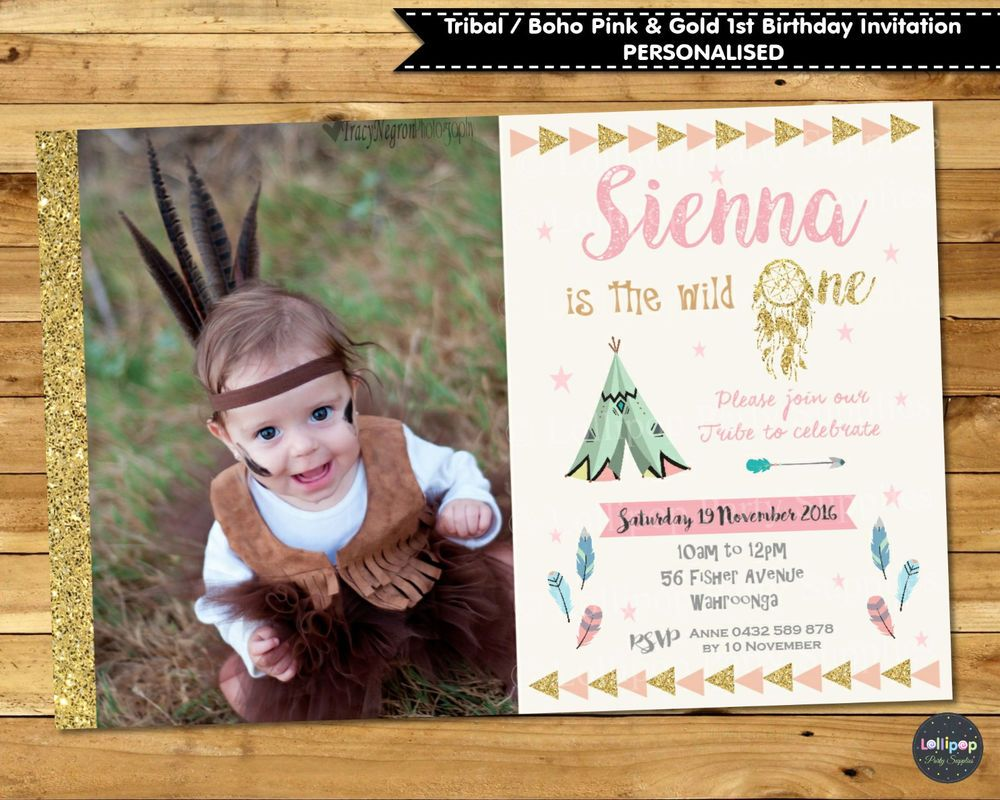 Tribal boho 1st first birthday invitation invites party supplies ...