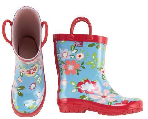 Blue Floral Rainboots