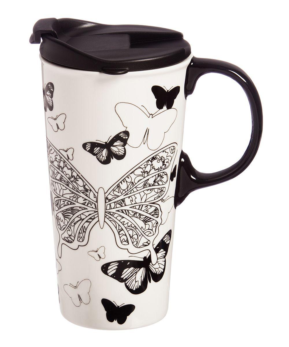 17Oz. Butterfly Kisses Ceramic Color Me Travel Mug Set