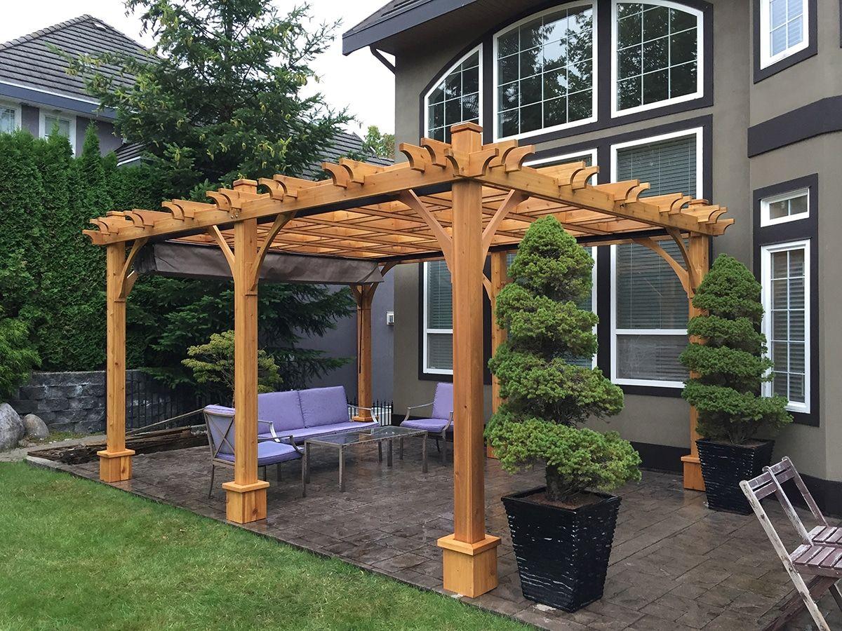 Attached Pergola 12x16 Cedar Wood Breeze Pergola Outdoor Living Today Wood Pergola Backyard Pergola Outdoor Pergola