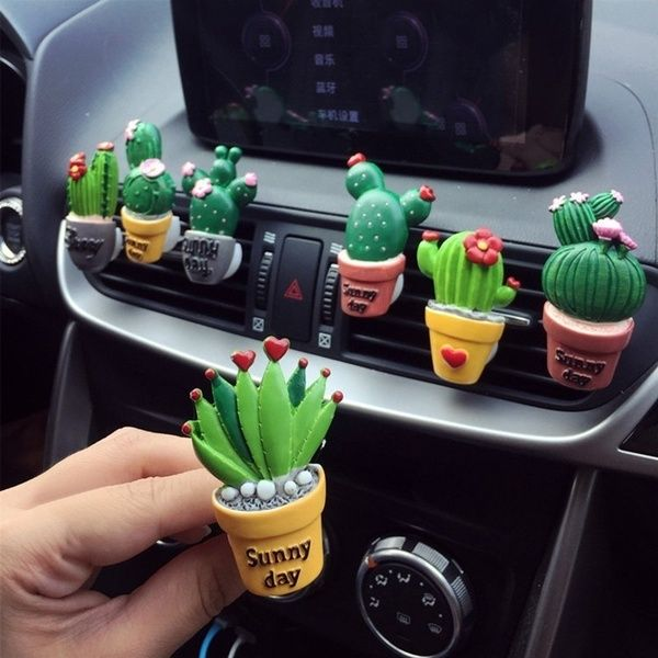 new Cute Cartoon Cactus Car Perfume Air Freshener Car Fragnance Clip Vent Parfume | Wish