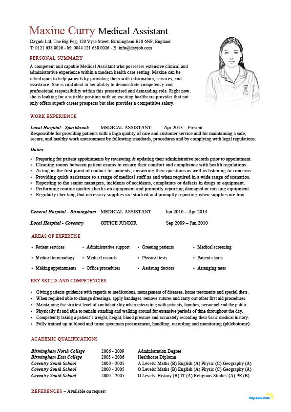 Medical Assistant resume template, CV, example, sample, healthcare ...