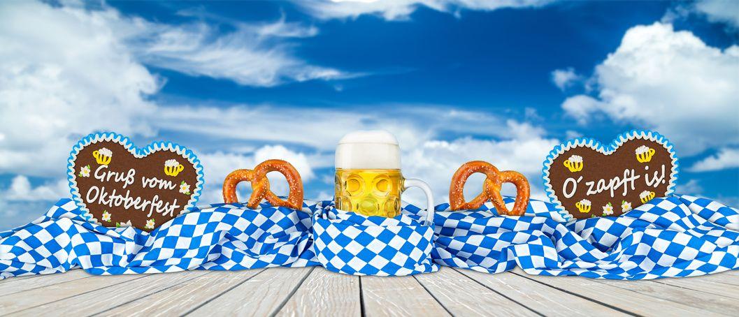 Dekofächer Ø 60 cm Dekoration Oktoberfest Ozapft is blau Wiesn Feier Party Fest