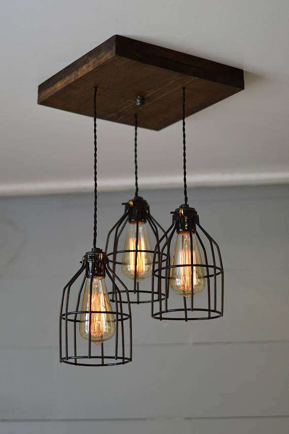 Farmhouse Reclaimed Wood Chandelier Edison Triple Pendant Light