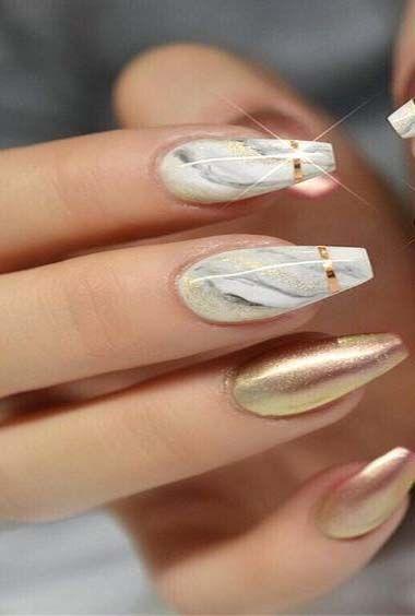 100 top & trendige kreative Nagelideen #Acryl #Nagel #lakken #art #grijs #Nagelw
