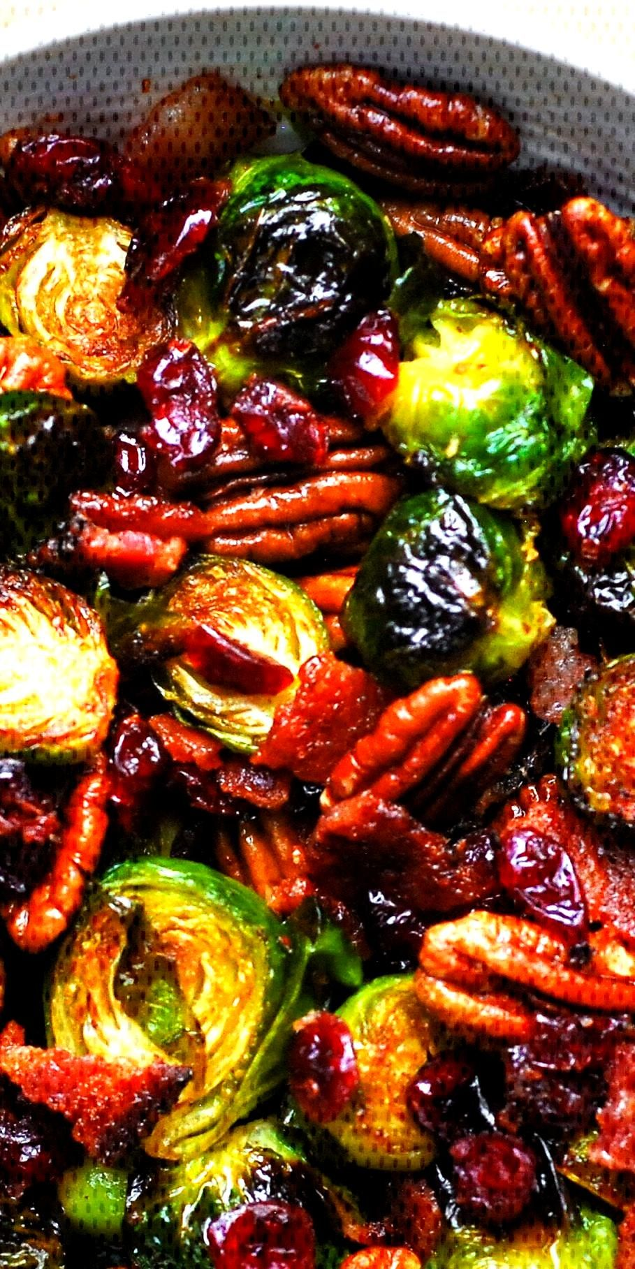 Christmas Side Dish: Roasted Brussels Sprouts with Bacon, Toasted Pecans, and Dried Cranberries is