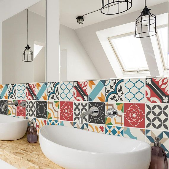 Bathroom Backsplash Tiles Mixed Colours Tiles Wall Stairs Tile Stickers Removable Kitchen Bathroom Decal Pack Of 24 With Images Tile Backsplash Bathroom