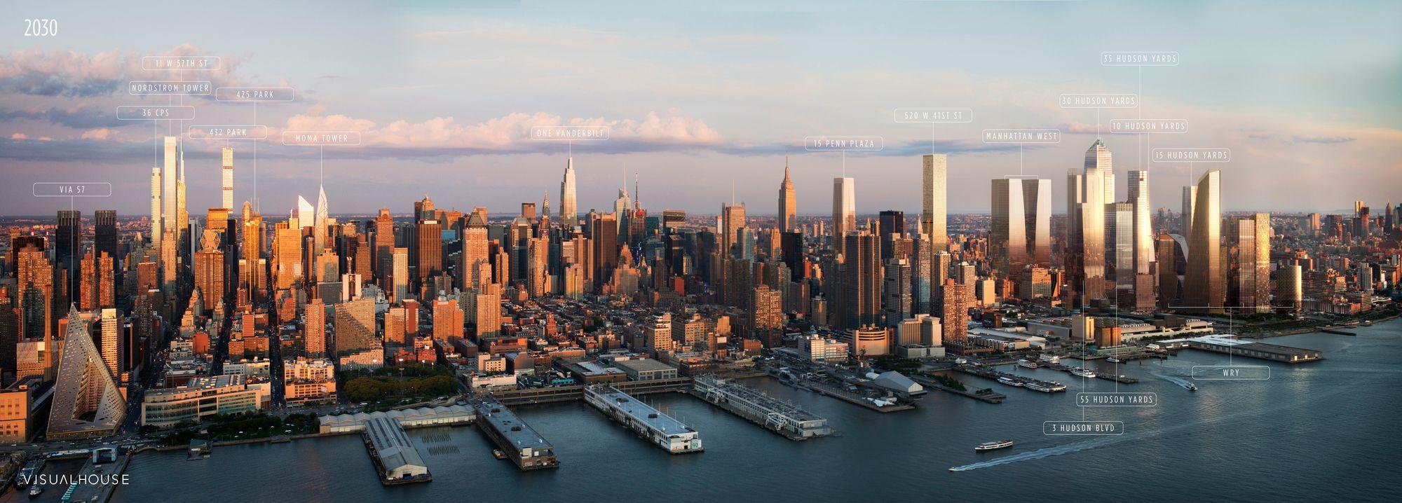 New York 2030 This Annotated Visualization Shows Us The Manhattan Of The Future Nyc Skyline Manhattan Skyline Future City