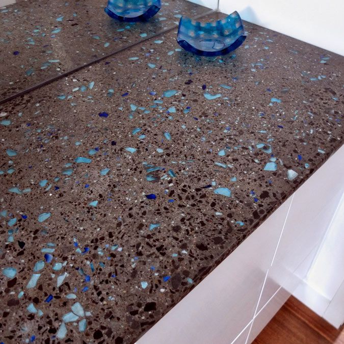 Desire To Inspire Love The Blue Flecks In This Countertop Recycled Glass Countertops Concrete Countertops Making Concrete Countertops