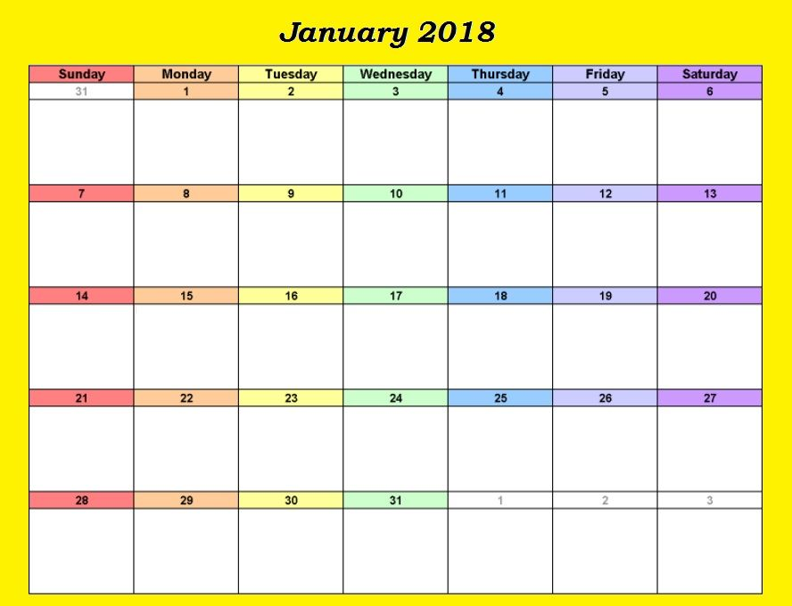 January  Calendar Excel Download  Maxcalendars