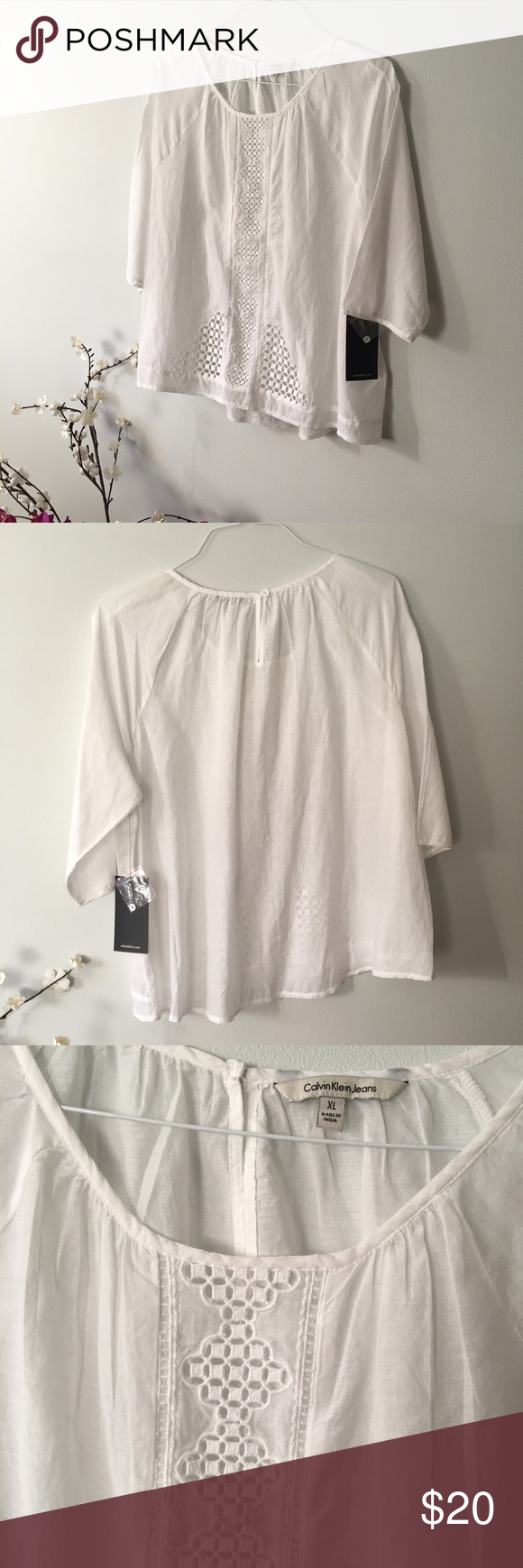 NWT CALVIN KLEIN 3/4 Sleeve Blousr SZ XL New with Tags. Lightweight top with embroidered neckline. Please message me if you have any questions or if you would like any additional information on this top. Calvin Klein Tops Tunics