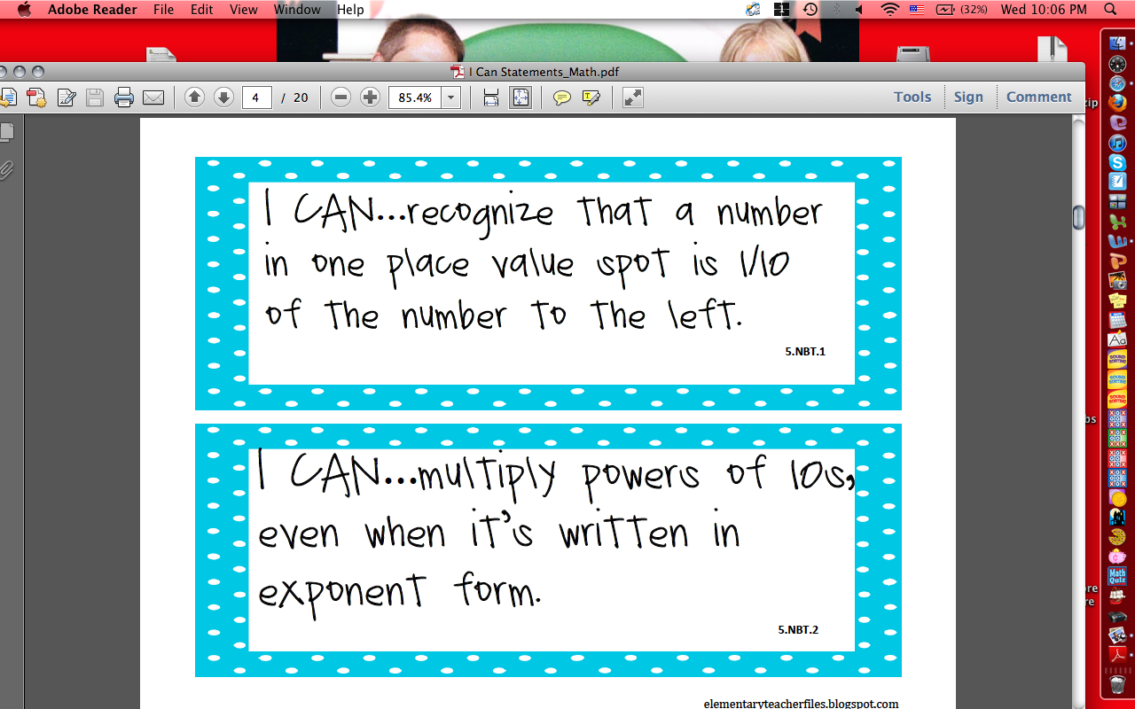 Common Core 5th Grade Math I Can Statement Freebie | My Blog ...
