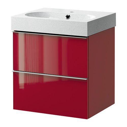GODMORGON/BRÅVIKEN Meuble lavabo 2tir - brillant rouge/gris clair - IKEA