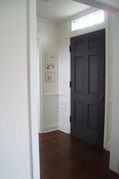Before After Painting The Front Door Grey Doors Dark Hardwood