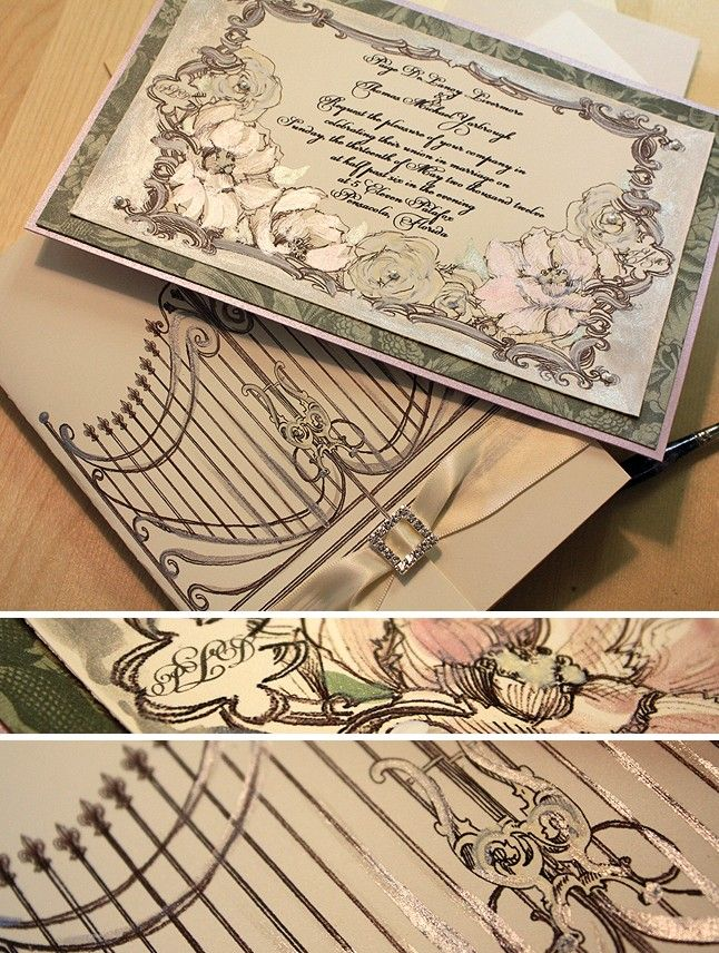 Sage And Lavender Secret Garden Handmade Wedding Invitation