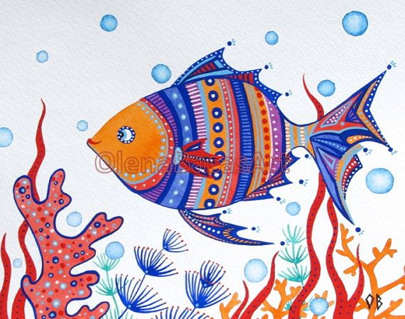 "Fish ORIGINAL Painting Kids Wall Art Sea Creature Ocean Orange Blue Red White Nautical Illustration 8""x10"" Nursery Room Decor Sale. $25.00, via Etsy."
