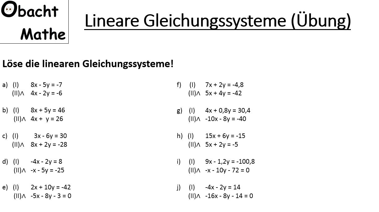 Übungen mit Lösungen - lineare Gleichungssysteme - LGS ...