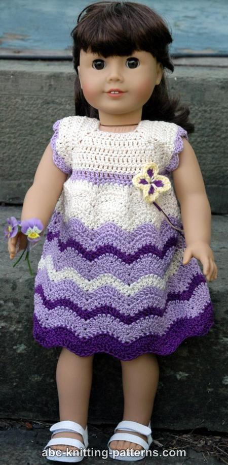 ABC Knitting Patterns - American Girl Doll Wisteria Chevron Dress ...