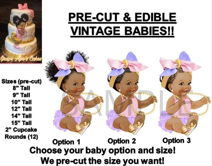 Other Baking Accessories Pre-cut Ivory And Peach Braids Afro Baby Edible Cake Topper Ruffle Pants Baby Kitchen, Dining & Bar