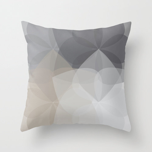 Geometric Flower Pillow Cover Grey Taupe Abstract by AldariHome, $35.00