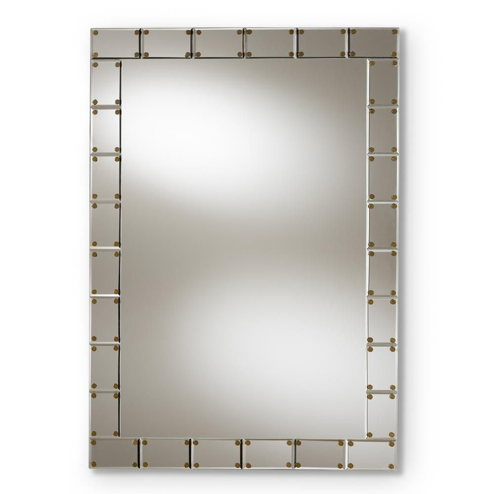 Baxton Studio Medium Rectangle Silver Contemporary Mirror 39 5 In H X 27 5 In W 150 8884 Hd The Home Depot In 2020 Framed Mirror Wall Tile Accent Wall Silver Wall Mirror
