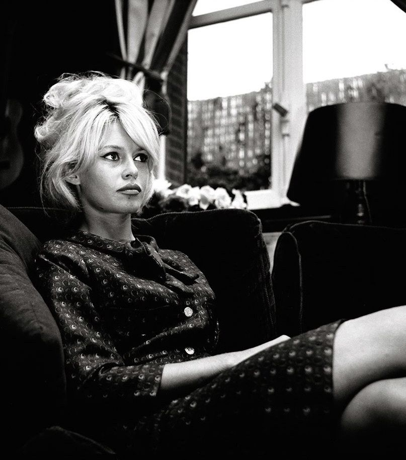 Brigitte Bardot at home in her Paris apartment, 1962.