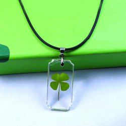 $4.55 Clear Geometric Clear Pendant Four Leaf Clover Necklace For Men