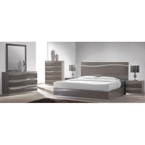 The Iris Platform Bed Is Finished In A Glossy Grey