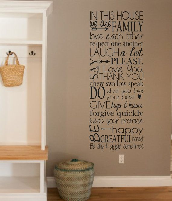 Vinyl Wall Decal In This House Love Family Manners Vinyl Wall