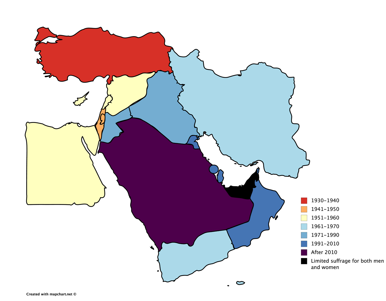 The year of womens suffrage in Middle East Maps Pinterest