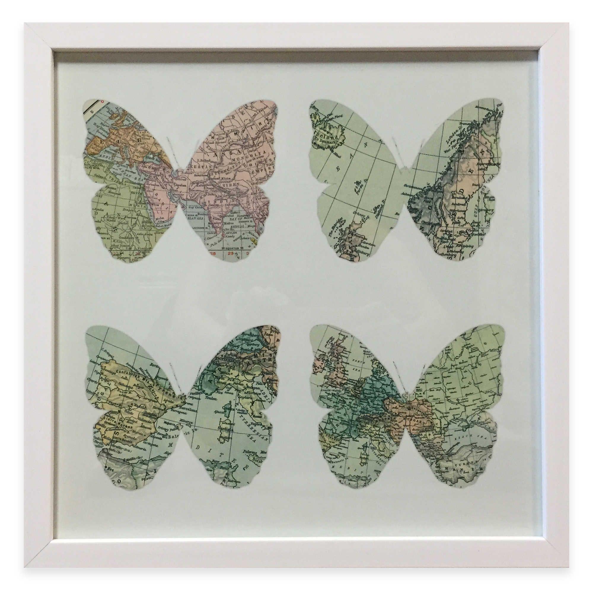 Traveler Map Butterfly Framed Wall Art | house ideas | Pinterest ...