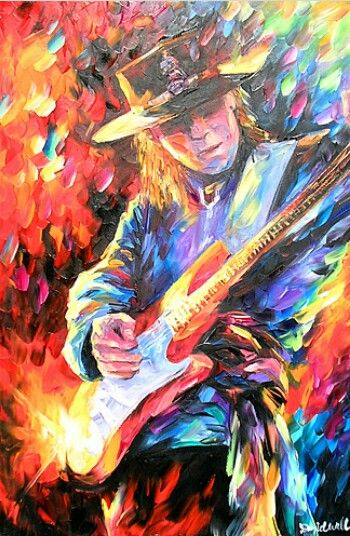 Stevie Ray Vaughan By Daniel Wall Painting Artist Art