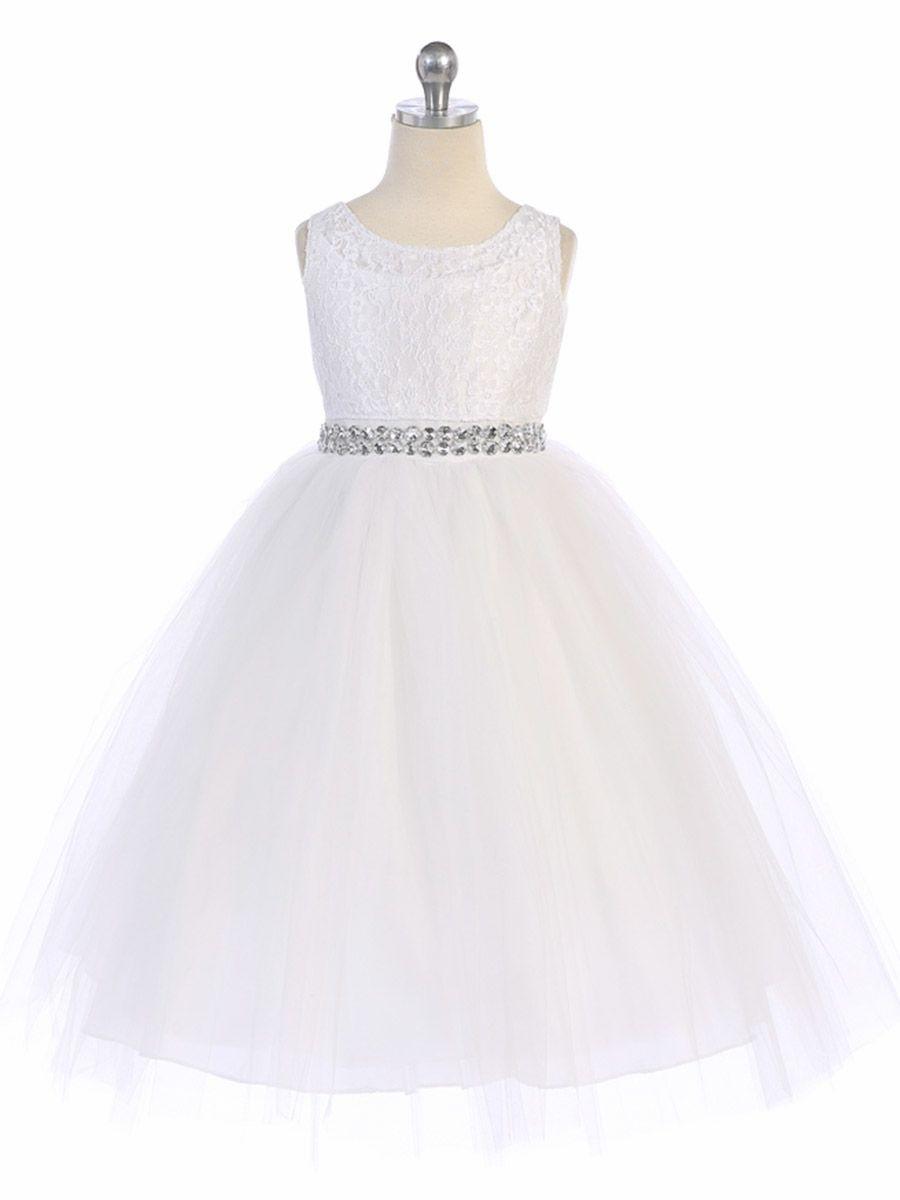 cd01c8cf100 White Lace   Tulle Dress w  Rhinestone Belt