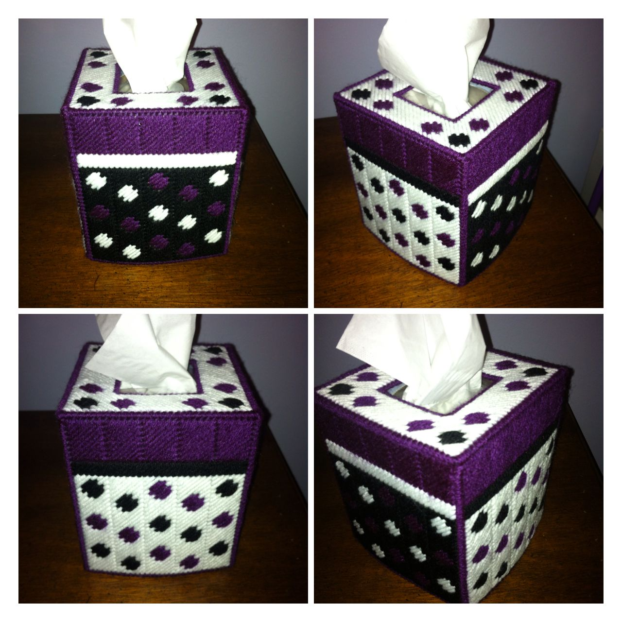 Polka dot plastic canvas tissue box cover