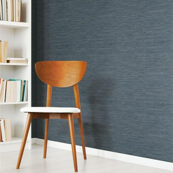 Roommates Grasscloth Blue Vinyl Peelable Wallpaper Covers 28 18 Sq Ft Rmk11314wp The Home Depot Accent Walls In Living Room Peel And Stick Wallpaper Grass Wallpaper