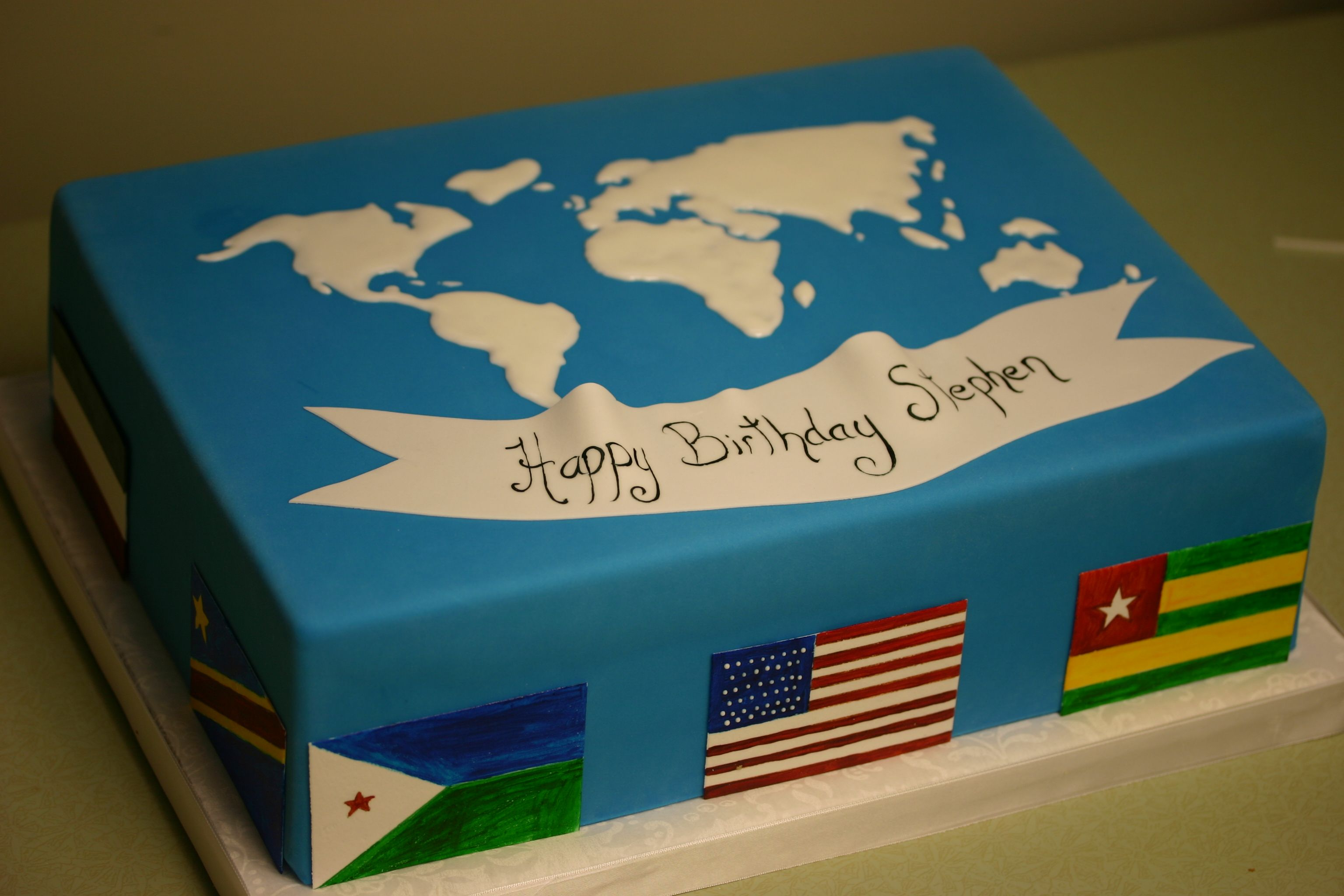33rd Wedding Anniversary Gift: World Map. Cake For Stephens 33rd Birthday!