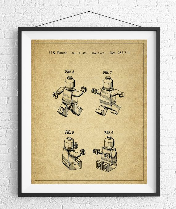 Lego Patent Print, Lego Man, Game Room Art, Toy Art, Game Room Wall ...