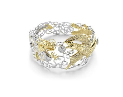 Poh Heng Classic  Customary Gold Two Tone  Dragon  Phoenix Bangle finished in 18K yellow and