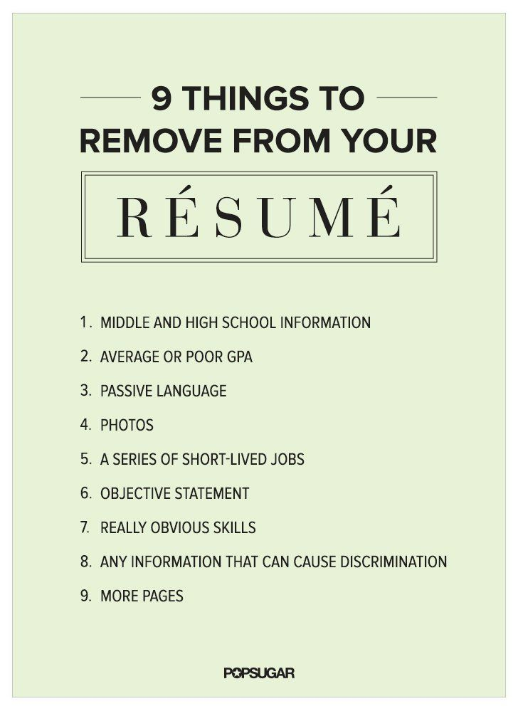 9 Things to Remove From Your Résumé Right Now Pinterest Job