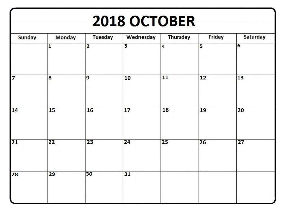 October Calendar 2018 Calendar 2019 Printable Editable Calendar