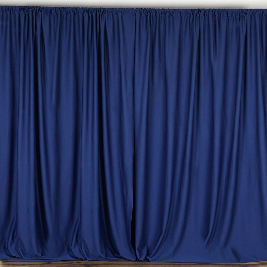 Pack Of 2 5ftx10ft Navy Blue Fire Retardant Polyester Curtain Panel Backdrops With Rod Pockets In 2020 Panel Curtains Blue Curtains Drapes Curtains