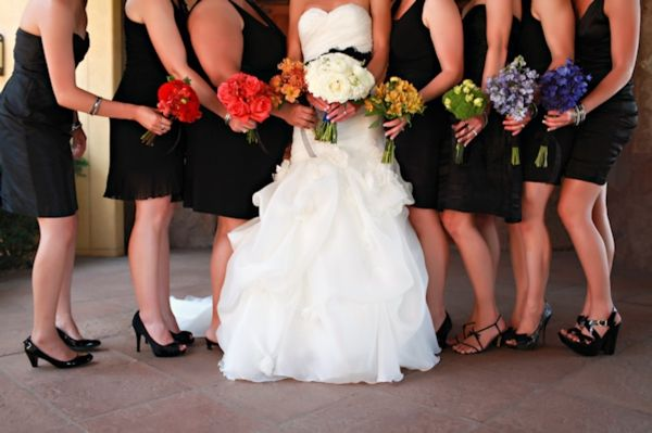 Black Bridesmaids Dresses Rainbow Bouquets Clic And White Wedding Brittany Janelle Photography
