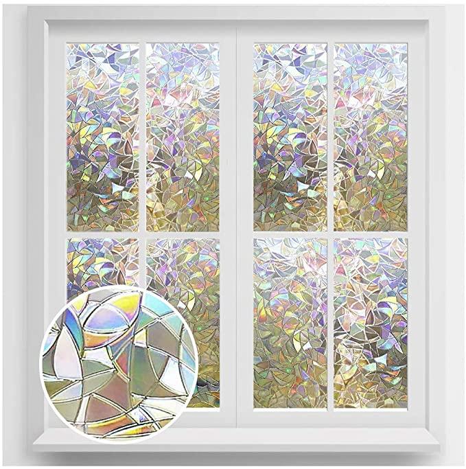 Amazon Com Rabbitgoo Window Privacy Film Rainbow Window Clings 3d Decorative Window Vin Decorative Window Film Glass Window Decals Stained Glass Window Film Decorative static cling window decals
