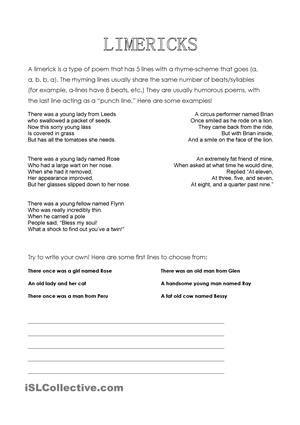 A fun little worksheet about limericks! Includes a description of ...