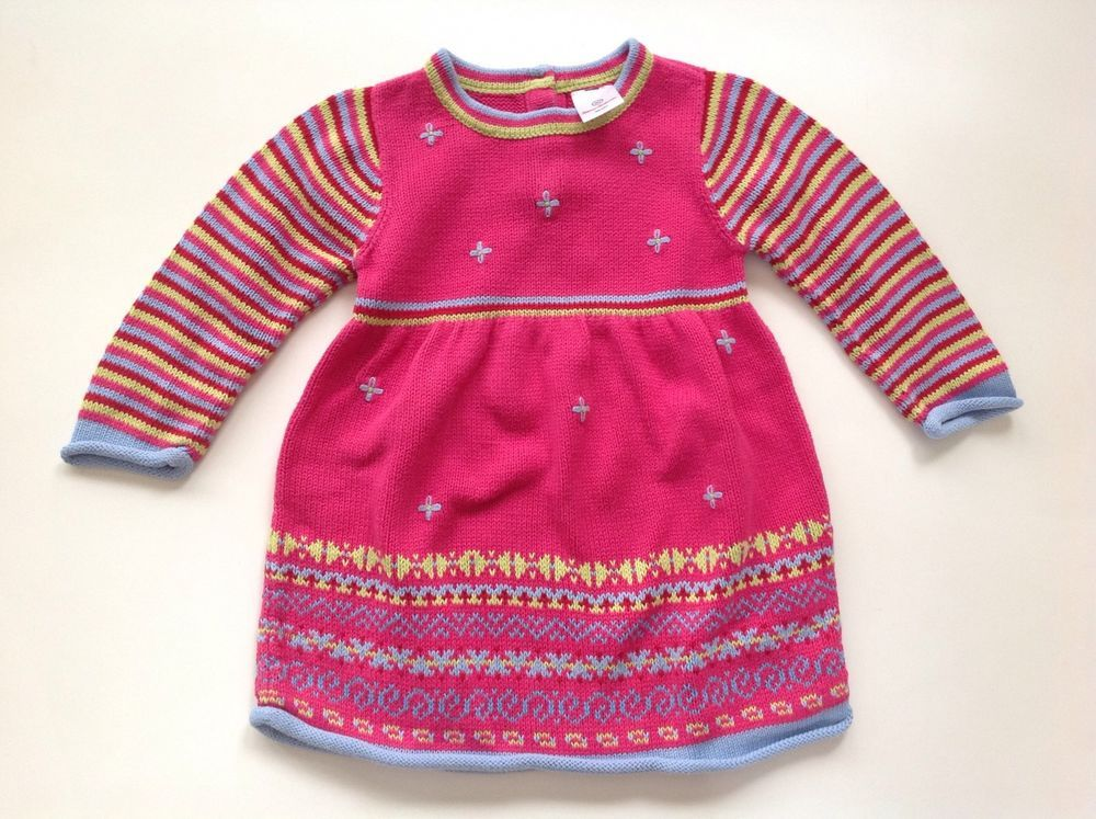 HANNA ANDERSSON Pink Fair Isle Cotton Knit Sweater Dress Size 80 ...