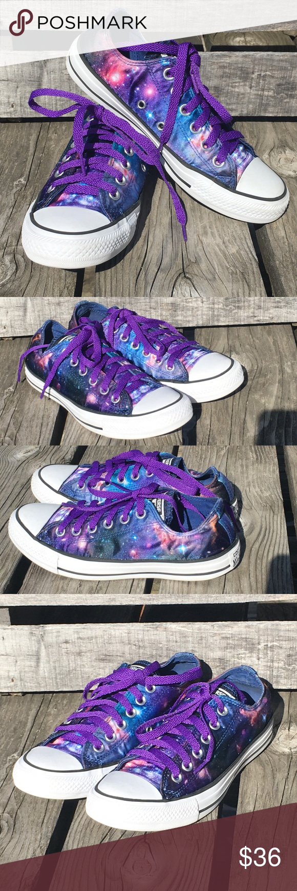c765ec5e94 Satin Galaxy Converse! New Laces! EUC! Beautiful and most wanted Converse!  Satin galaxy print. New purple laces - can be changed if desired.