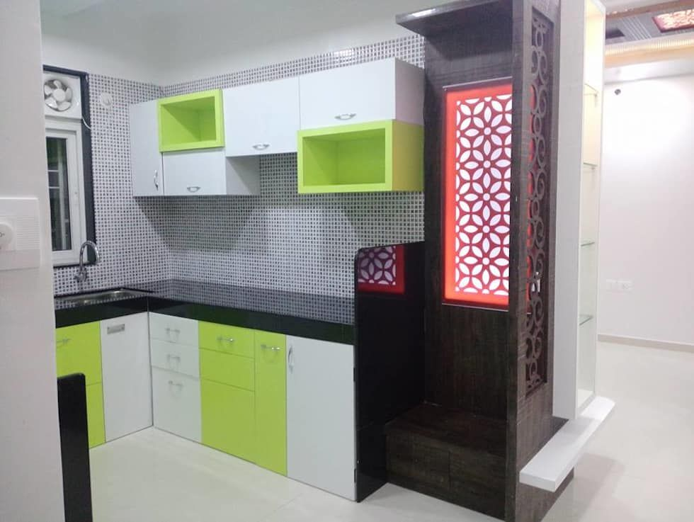 2 Bhk Residential Project 2016 Modern Kitchen By Sharada Interiors Modern Homify Kitchen Room Design Room Door Design Latest Kitchen Designs