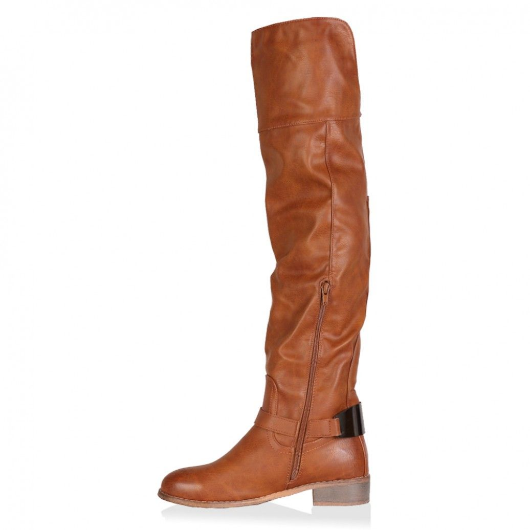 Penelope Brown Tan Low Block Heel Boots